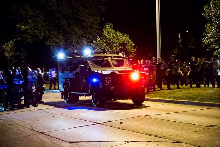 An armored police vehiclein Milwaukee, Wisconsin. Aug. 14, 2016