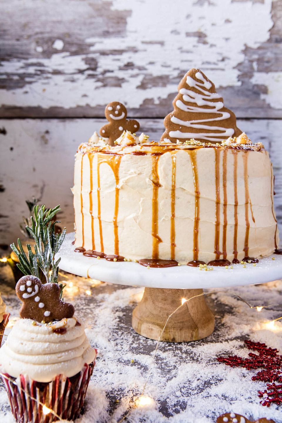 """<strong>Get the <a href=""""http://www.halfbakedharvest.com/gingerbread-cake-with-caramel-cream-cheese-buttercream/"""" target=""""_bl"""