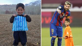 TOPSHOT - (COMBO) This combination of pictures created on December 14, 2016 in Paris shows then five-year-old Afghan boy and Lionel Messi fan Murtaza Ahmadi posing with his plastic bag jersey in Jaghori district of Ghazni province in a photograph provided by the boy's family and taken on January 24, 2016 (L), and FC Barcelona's Argentine forward Lionel Messi talking to Murtaza Ahmadi on the pitch before the start of a friendly football match against Saudi Arabia's Al-Ahli FC on December 13, 2016 in the Qatari capital Doha.  Murtaza Ahmadi, the Afghan boy who became an internet sensation after pictures of him wearing an improvised Lionel Messi football shirt went viral, finally got to meet his superstar idol on December 13, 2016. Murtaza Ahmadi met the Barcelona forward in Doha, where the Spanish league champions played a friendly match against Saudi Arabian side Al-Ahli later. Six-year-old Murtaza, from the rural Ghazni province southwest of Kabul, walked out onto the pitch as a mascot hand-in-hand with the Argentinian at the start of the match at Doha's Al-Gharrafa stadium. / AFP / STR AND Karim JAAFAR        (Photo credit should read STR,KARIM JAAFAR/AFP/Getty Images)