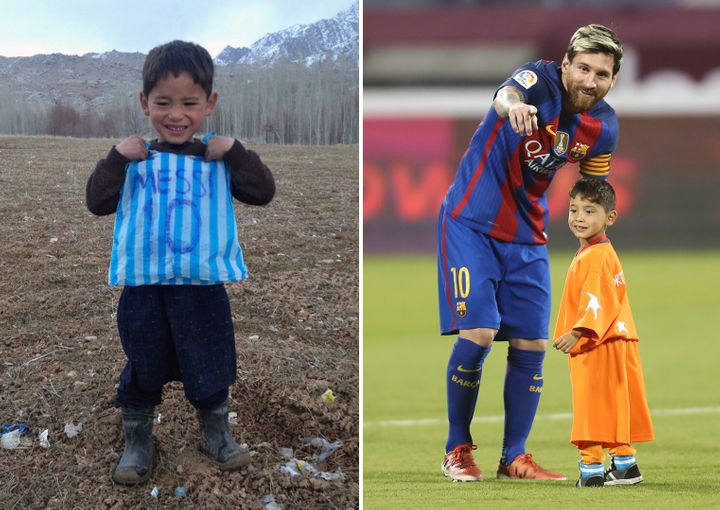 Murtaza Ahmadi, who showed off his plastic-bag shirt nearly a year ago, met Lionel Messi on Dec. 13.
