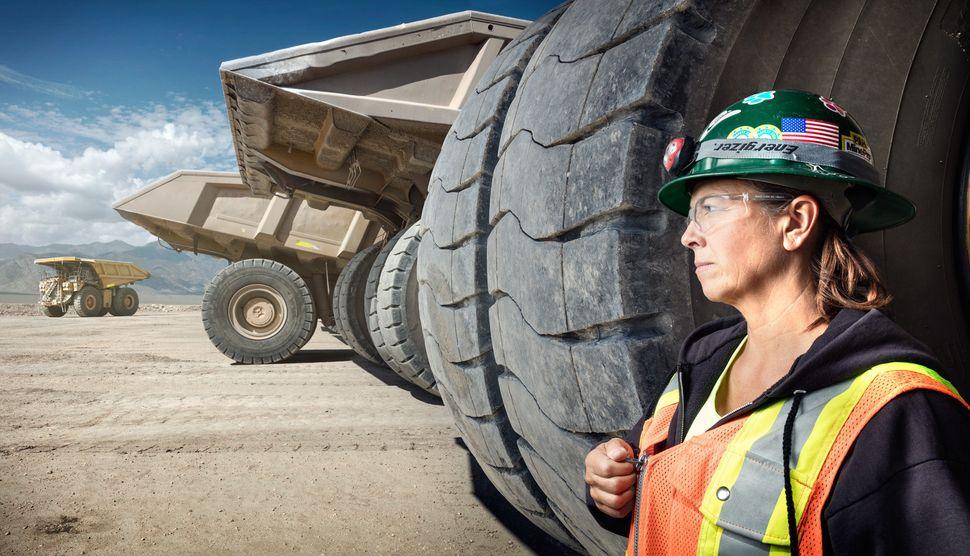 Leeann Johnson; Haul Truck Driver at Round Mountain Gold Mine.Shot in Round Mountain, NV.