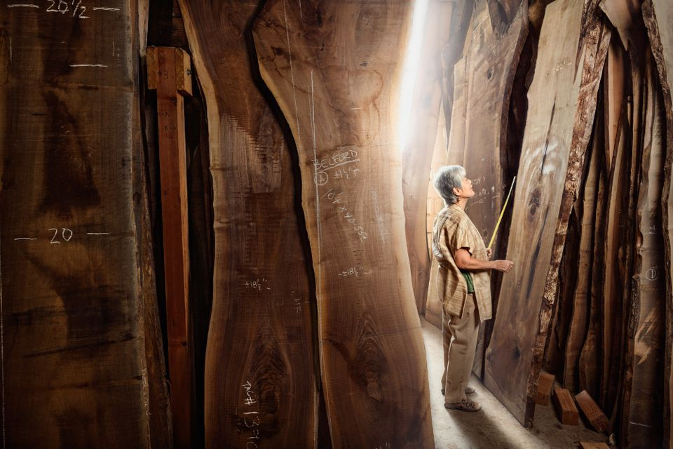 Mira Nakashima; Designer and Woodworker at George Nakashima Woodworking. Shot in New Hope, PA.