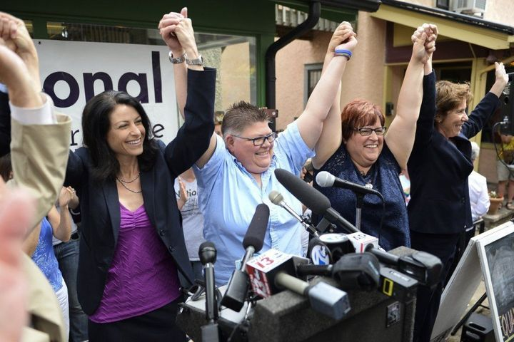 "Dana Nessel, head of the ""National Marriage Challenge"" celebrates the Supreme Court victory in Obergefell v. Hodges with her"