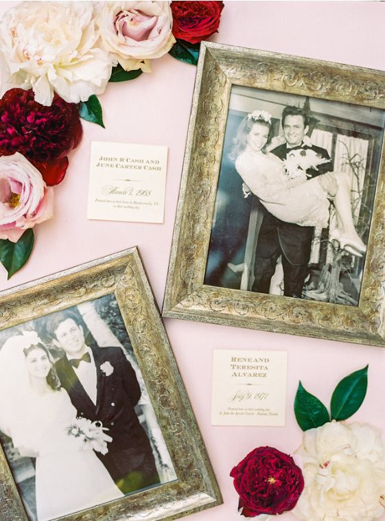 Photos of the bride and groom's parents on their wedding days.