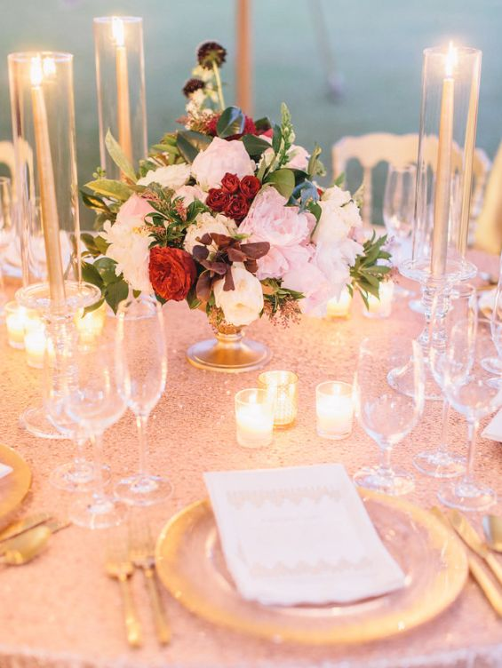 The reception was decorated with roses and candles.