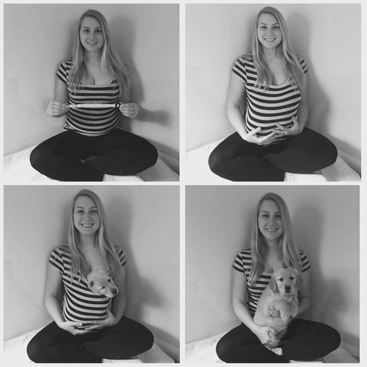 Carrie posed withthe dog collar as if it were a pregnancy test and put Leeluin her shirt to create the cutest, cuddliest baby bump.