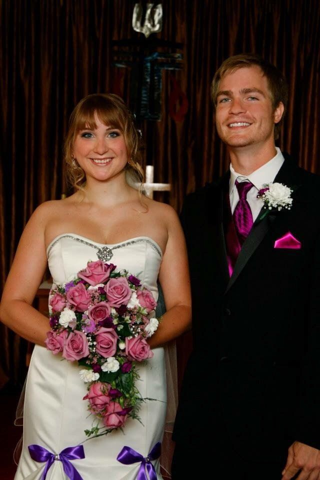 Carrie and Nic on their wedding day.
