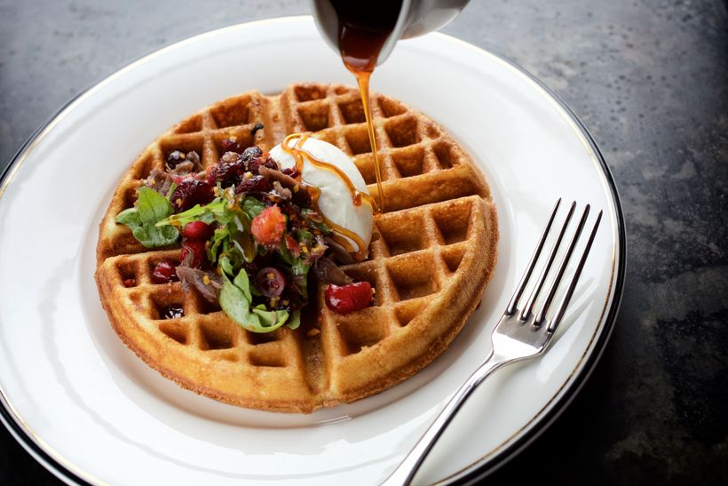 From Hotel Emma's Supper restaurant: spiced waffle with duck confit, cranberry, orange and goat cheese mousse