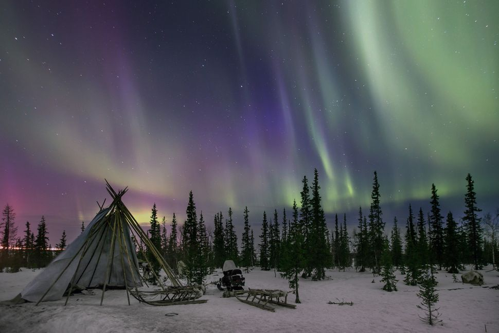 Northern lights seen near the town of Salekhard, Russia, on April 8.