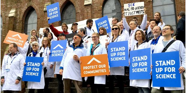 Scientists rallying for climate action at the American Geophysical Union meeting in San Francisco.