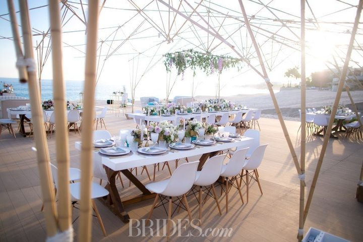 The couple hosted a beach-chic reception with an incredible ocean view.