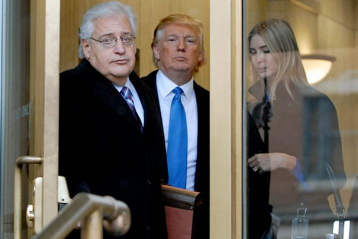 Donald Trump and Ivanka Trump exit U.S. Bankruptcy Court in Camden, New Jersey, with David Friedman on Feb. 25, 2010.