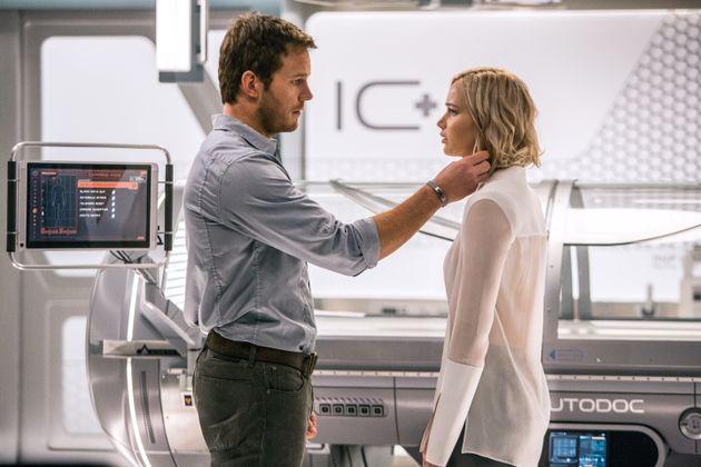 Chris Pratt and Jennifer Lawrence star in a scene from