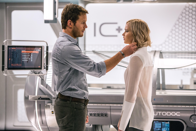 "Chris Pratt and Jennifer Lawrence star in a scene from ""Passengers."""