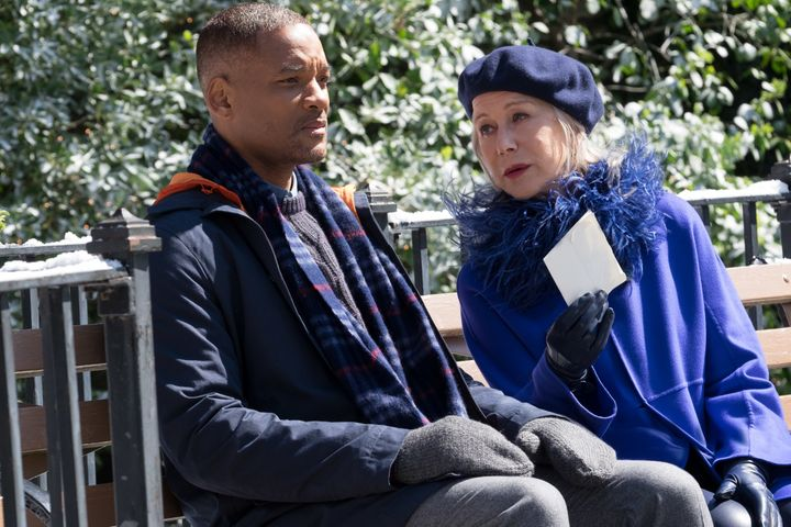"Will Smith and Helen Mirren star in a scene from ""Collateral Beauty."""