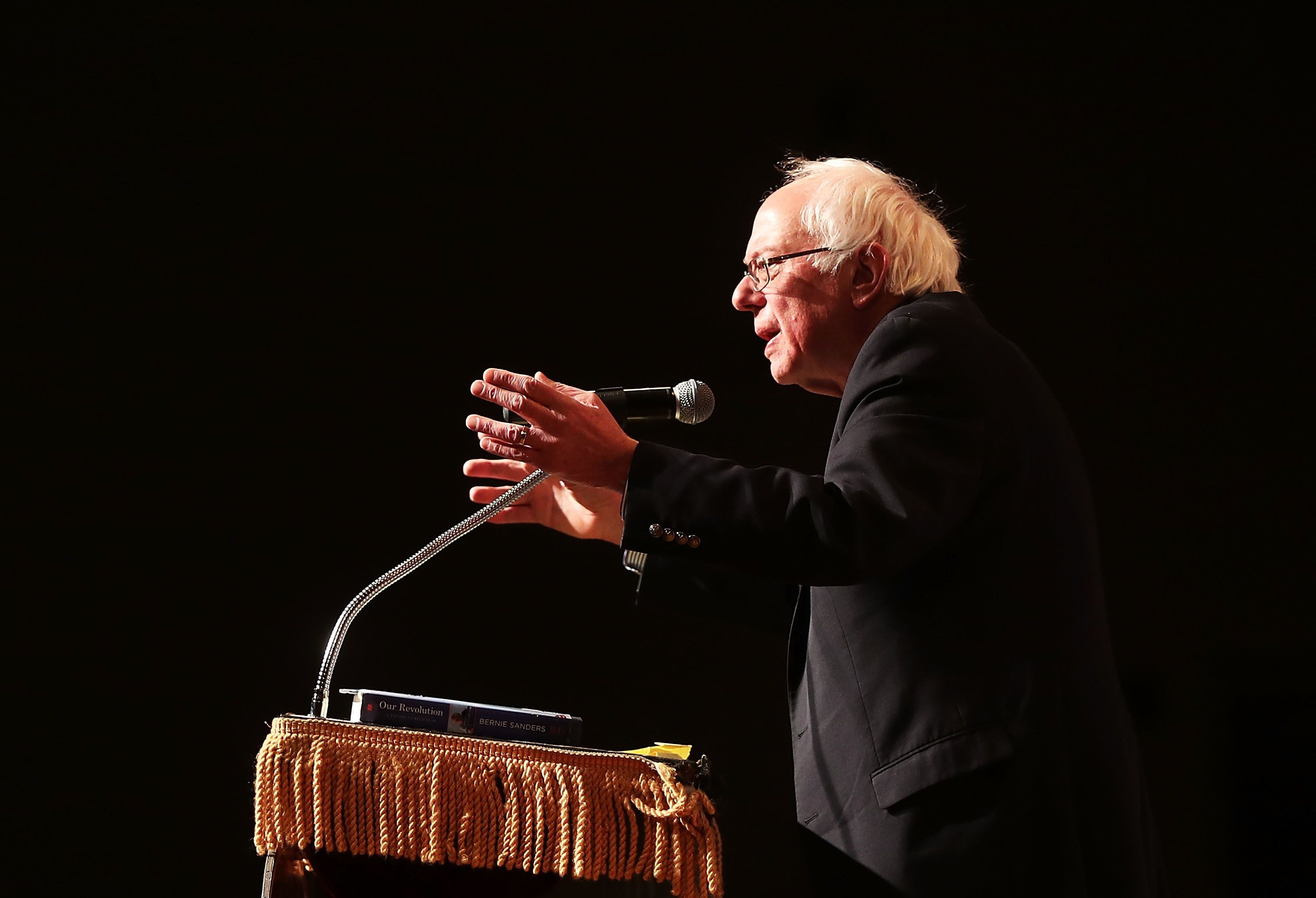 NEW YORK, NY - DECEMBER 13:  Former presidential candidate and Vermont Senator Bernie Sanders speaks about his 2016 campaign at The Cooper Union on December 13, 2016 in New York City. Sanders also spoke about Donald Trump's win in the 2016 Presidential election and his new book, Our Revolution: A Future to Believe In. (Photo by Spencer Platt/Getty Images)