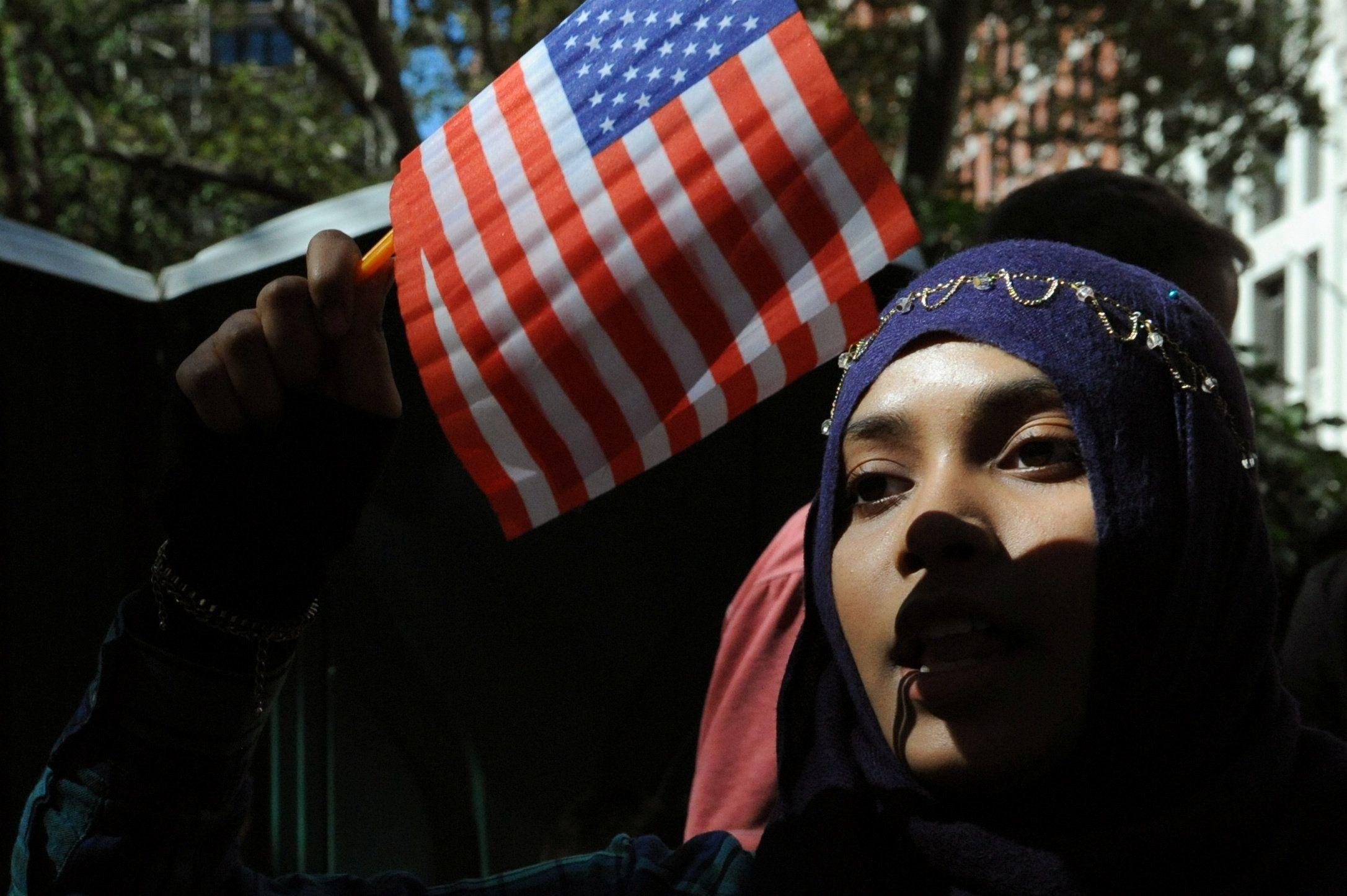 People participate in the annual Muslim Day Parade in Manhattan on Sept. 25, 2016.