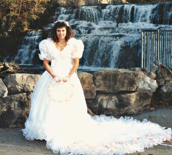 This woman found a festive way to give her wedding dress a second a photo of tess on her wedding day in 1990 junglespirit Choice Image