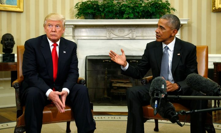U.S. President Barack Obama meets with President-elect Donald Trump to discuss transition plans in the White House in the Ova