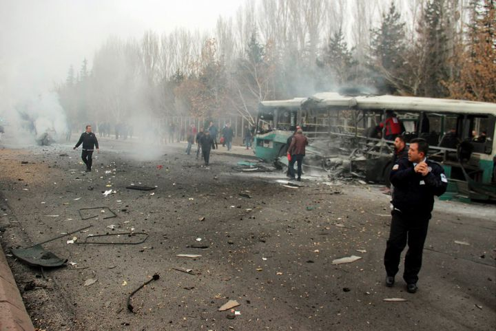 Thirteen soldiers were killed when a car bomb hit this bus transporting off-duty military personnel in Kayseri.