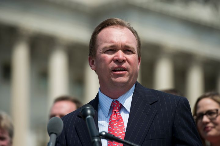 Mick Mulvaney, R-S.C., speaks during the bipartisan news conference outside of the Capitol to unveil 'a major proposal aimed
