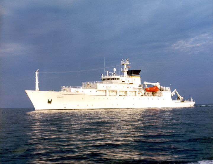 The oceanographic survey ship, USNS Bowditch, is shown September 20, 2002, which deployed an underwater drone seized by a Chi