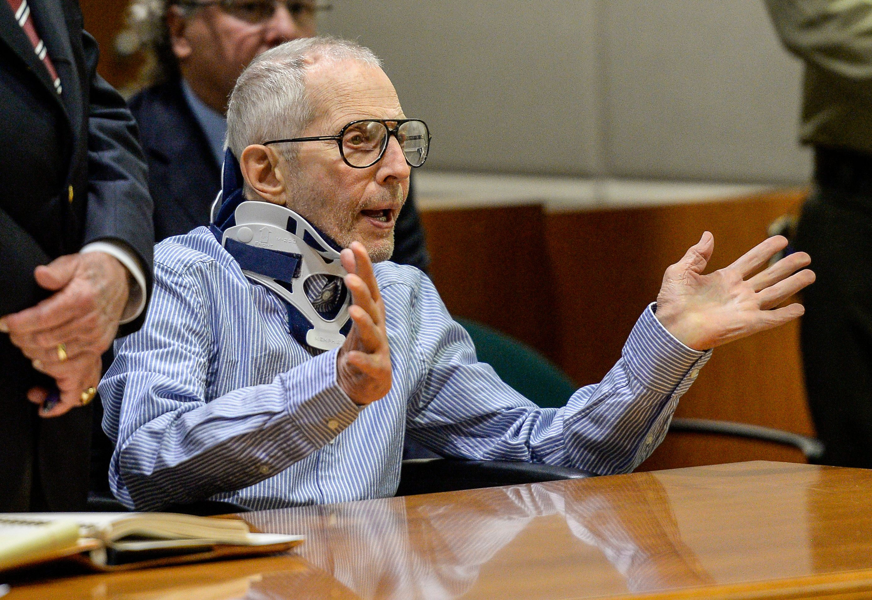 LOS ANGELES, CA - NOVEMBER 07: Real Estate Heir Robert Durst appears in the Airport Branch of the Los Angeles County Superior Court on November 7, 2016 in Los Angeles, California. Durst has pleaded not guilty to murder in the death of a friend Susan Berman in 2000. (Photo by Pool/Getty Images)