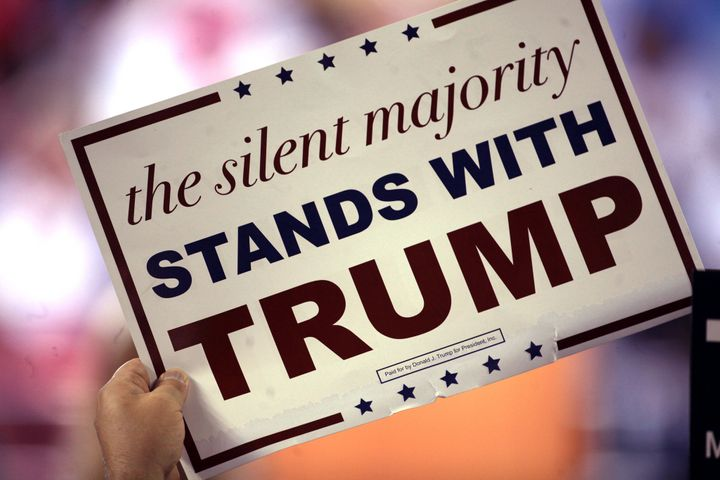 Trump has resurrected Nixon's notion of the 'Silent Majority' this election season. Sign seen at a rally in Phoenix, Arizona.