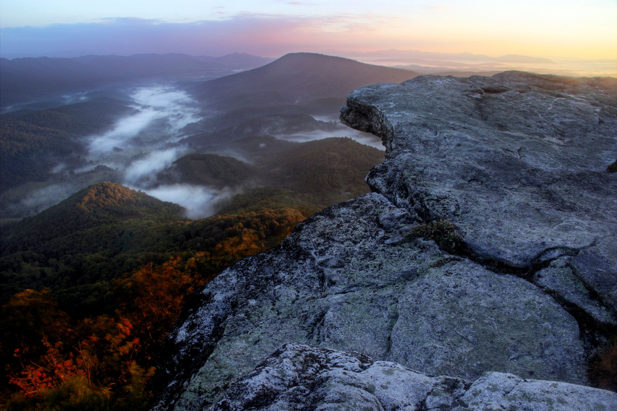 Fall sunrise from McAfee Knob on the appalachian trail in Virginia.