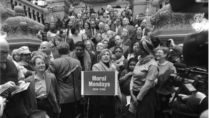 Weingarten speaks last year at a Moral Monday rally in support of public education at the state Capitol in Albany, N.Y.