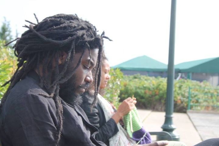 """<p>Lesley-Anne Brown of the Rhode Island Writer's Colony, says of the photo with Jason Reynolds, """" I was knitting a baby blanket for <a href=""""https://www.facebook.com/theforcesofgood?hc_location=ufi"""" target=""""_blank"""" role=""""link"""" rel=""""nofollow"""" data-ylk=""""subsec:paragraph;itc:0;cpos:__RAPID_INDEX__;pos:__RAPID_SUBINDEX__;elm:context_link"""">Karen Good Marable</a>'s baby girl. I can't remember what <a href=""""https://www.facebook.com/jason.reynolds.37266?hc_location=ufi"""" target=""""_blank"""" role=""""link"""" rel=""""nofollow"""" data-ylk=""""subsec:paragraph;itc:0;cpos:__RAPID_INDEX__;pos:__RAPID_SUBINDEX__;elm:context_link"""">Jason Reynolds</a> was reading tho' """"</p>"""