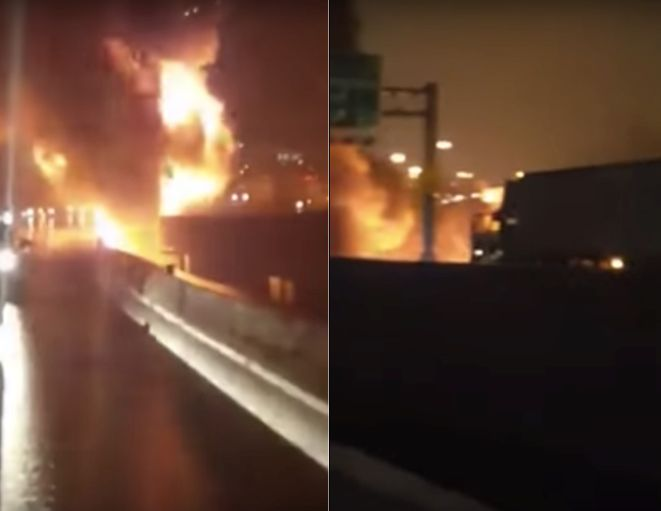 A tanker was filmed falling off an interstate and bursting into flames (left) just before several tractor-trailers drove into