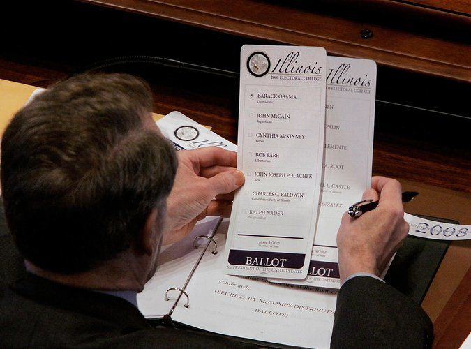 Michael Madigan, an Illinois elector for the 2008 election, filled out his ballot at the state Capitol.