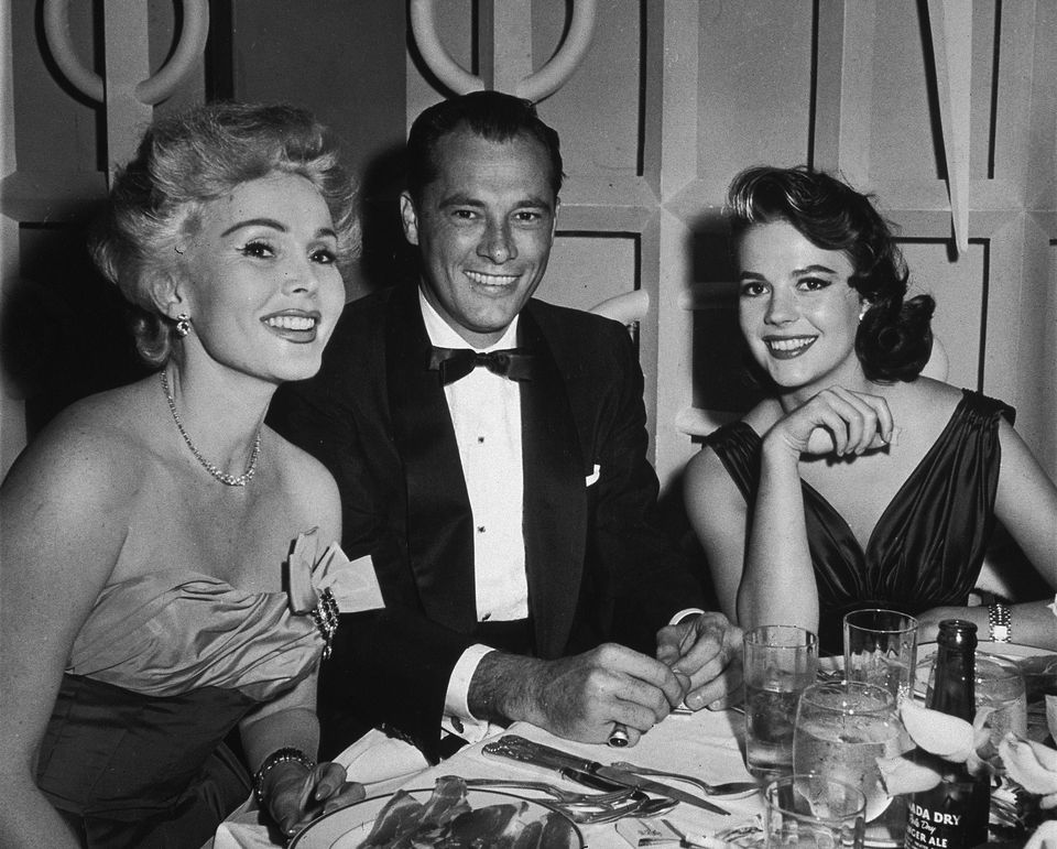 Gabor with Conrad 'Nicky' Hilton, and actress Natalie Wood. Gabor was married to 'Nicky's' father, hotelier Conrad Hilto