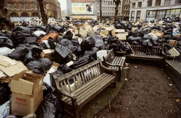 Mountains of rubbish dumped in Leicester Square due to the continuing strike by dustbin collectors from...