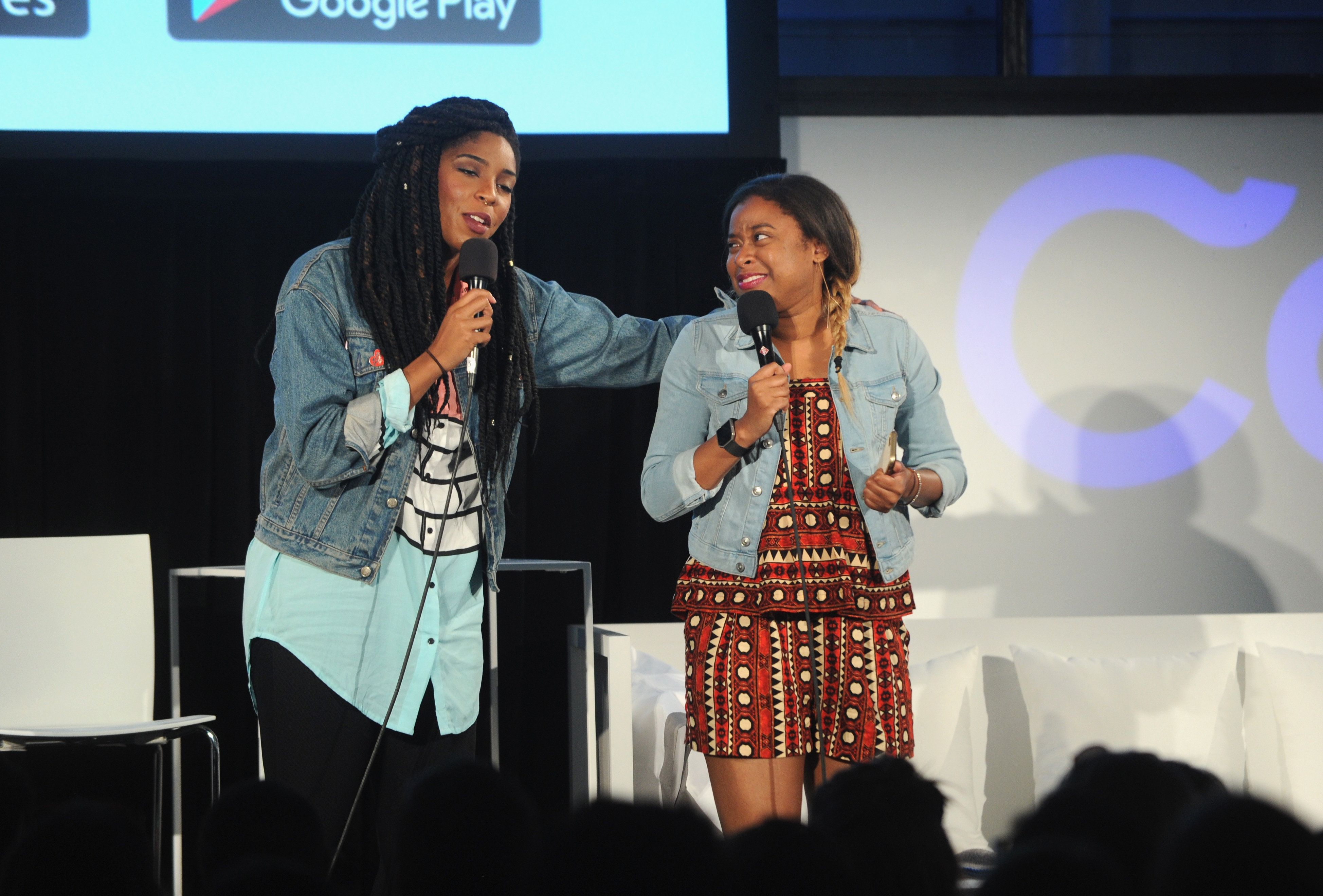 "Comedians Jessica Williams and Phoebe Robinson onstage during a live performance of their ""2 Dope Queens"" podcast in May."