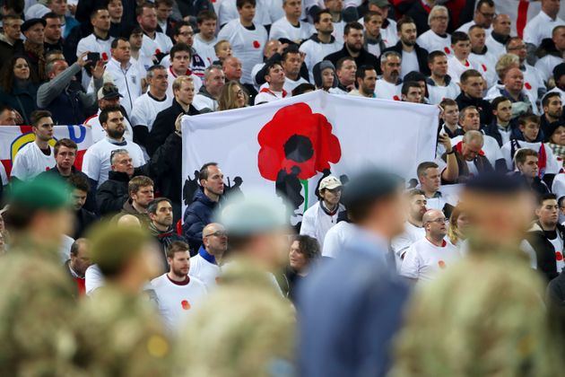 Armistice Day tributes were seen in the stands during the