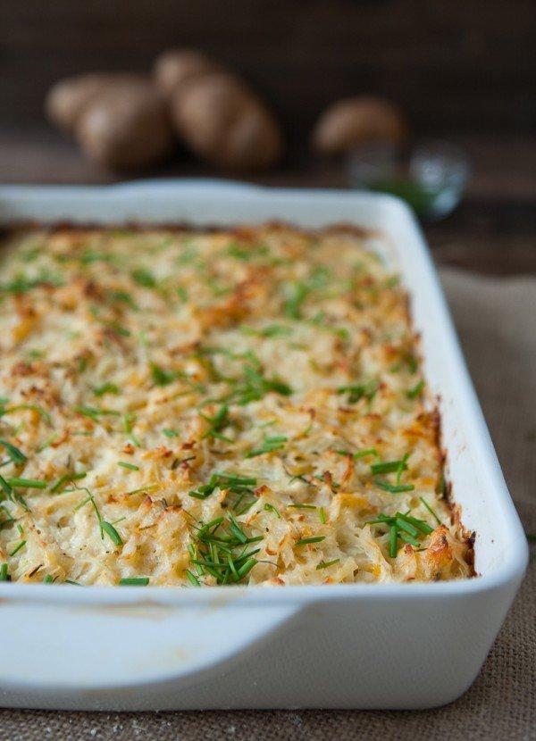 "<strong>Get the <a href=""http://eclecticeveryday.com/cheesy-potato-kugel"" target=""_blank"">Cheesy Potato Kugel recipe</a>&nbsp"