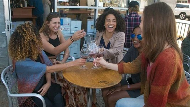 A group of women enjoy wine tasting in Santa Barbara, California. Nationwide, women are drinking more than they did a decade
