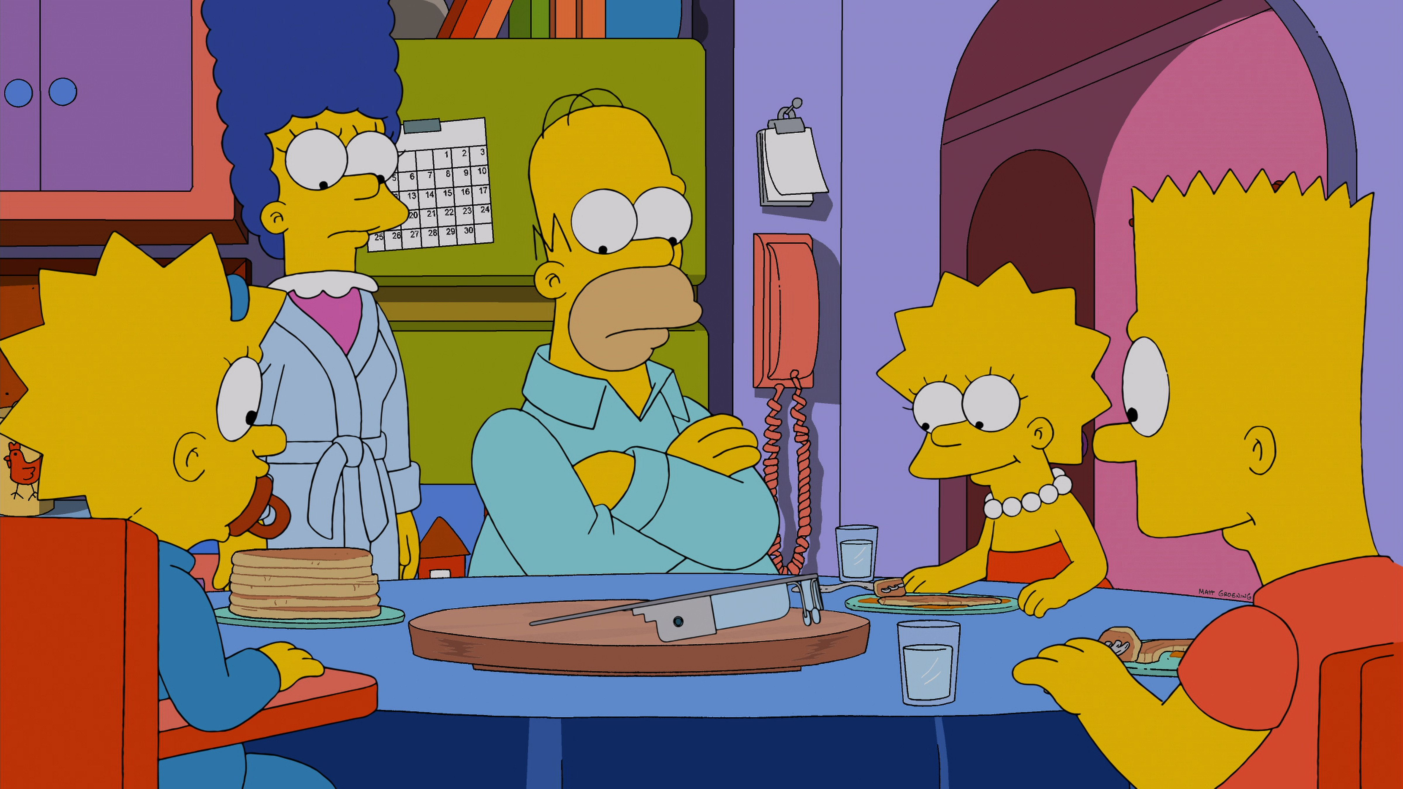 THE SIMPSONS: The Simpson family is excited to try out Homer's new toy in the 'Specs and the City' episode of THE SIMPSONS airing Sunday, Jan. 26, 2014 (8:00-8:30 PM ET/PT) on FOX. (Photo by FOX via Getty Images)