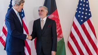 US Secretary of State John Kerry (L) shakes hands with Afghanistan's Chief Executive Abdullah Abdullah during a Conference on Afghanistan in Brussels, on October 4, 2016.  The two-day conference, hosted by the EU, will have the participation of over 70 countries to discuss the current situation in Afghanistan. / AFP / POOL / Geert Vanden Wijngaert        (Photo credit should read GEERT VANDEN WIJNGAERT/AFP/Getty Images)
