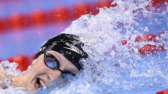 USA's Katie Ledecky competes to break the world record in the Women's 800m Freestyle Final during the swimming event at the Rio 2016 Olympic Games at the Olympic Aquatics Stadium in Rio de Janeiro on August 12, 2016.   / AFP / GABRIEL BOUYS        (Photo credit should read GABRIEL BOUYS/AFP/Getty Images)