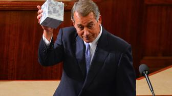 WASHINGTON, DC OCTOBER 29: Outgoing Speaker John Boehner jokingly holds up a box of tissue during his resignation speech in the House Chamber of the U.S. Capitol on Thursday, October, 29, 2015, in Washington, DC.   (Photo by Jahi Chikwendiu/The Washington Post via Getty Images)