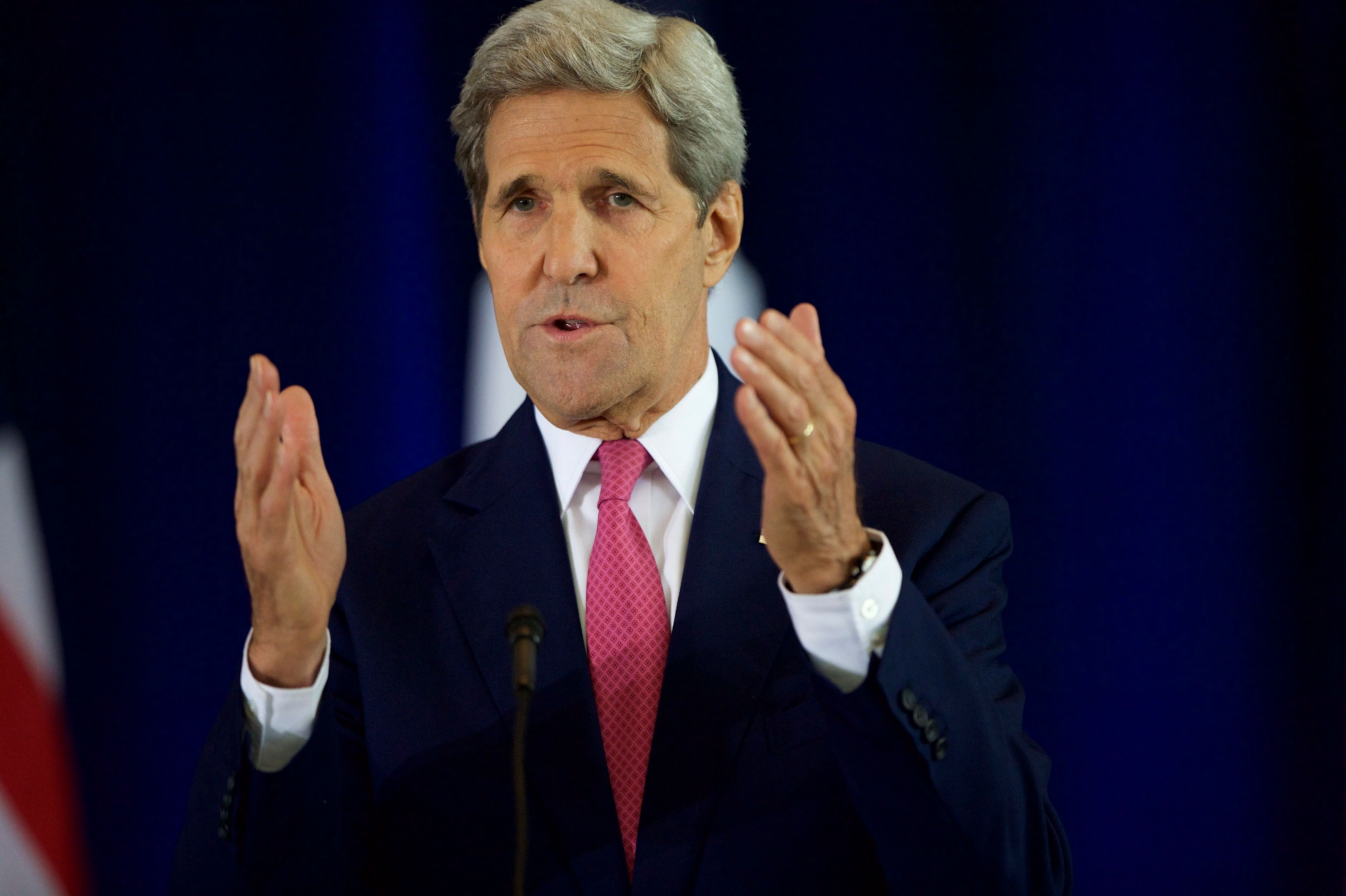 PHILADELPHIA, PA - SEPTEMBER 2:  U.S. Secretary of State John Kerry delivers a speech on the nuclear agreement with Iran at the National Constitution Center on September 2, 2015 in Philadelphia, Pennsylvania. U.S. Sen. Barbara Mikulski (D-MD) announced her support for the Iran nuclear deal, becoming the 34th Democratic senator to back the president and garnering enough votes for the deal to survive in congress.  (Photo by Mark Makela/Getty Images)
