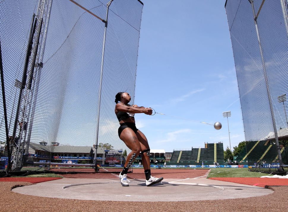 Gwen Berry competes in the Women's Hammer Throw Final during the 2016 U.S. Olympic Track & Field Team Trials at Hayward F