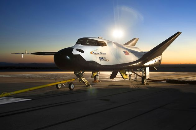 The Sierra Nevada Corporation (SNC) Dream Chaser flight vehicle is readied for 60 mph tow tests at NASA's...