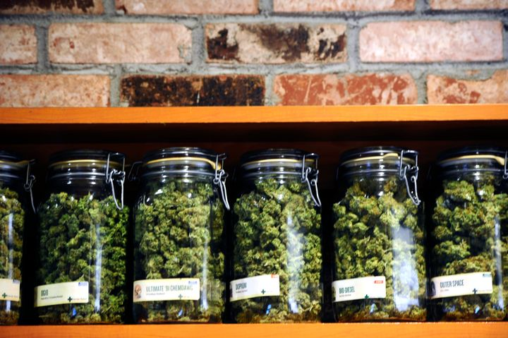 A selection of indica and sativa cannabis flowers on salein Denver.