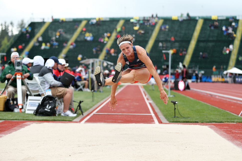 Heather Miller-Koch competes in the Women's Heptathlon Long Jump during the 2016 U.S. Olympic Track & Field Team Trials a
