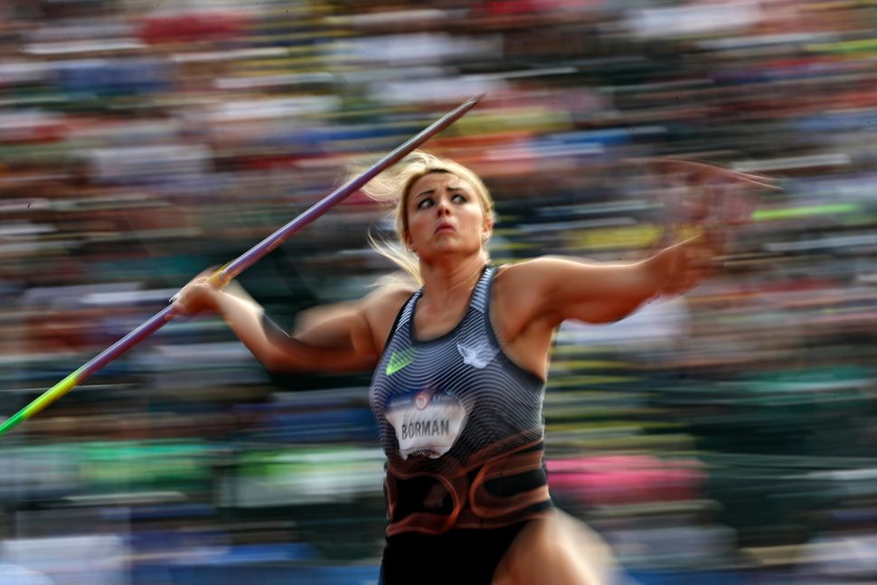 Brittany Borman prepares to throw in the Women's Javelin Throw Final during the 2016 U.S. Olympic Track & Field Team Tria