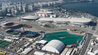 Aerial view of the Olympic Park in Rio de Janeiro, Brazil, on July 26, 2016. The Rio 2016 Olympic and Paralympic Games will be held in Brazil from August 5-21 and September 7-18 respectively. / AFP / YASUYOSHI CHIBA        (Photo credit should read YASUYOSHI CHIBA/AFP/Getty Images)